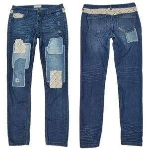 Free People Patchwork and Crochet Jeans, 29